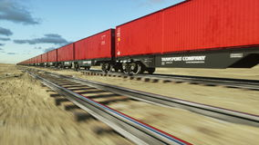 Freight train with cargo containers. Logystic concept. Realistic cinematic 4k animation. stock video