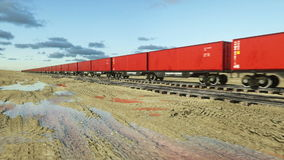 Freight train with cargo containers. Logystic concept. Realistic cinematic 4k animation. stock footage
