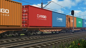 Freight train with cargo containers stock video