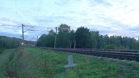Freight train with cargo containers passing by stock video
