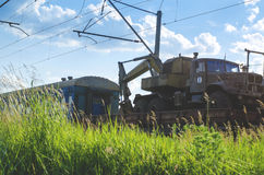 Freight train with cargo. Freight train transporting different cargo in containers and different transport Royalty Free Stock Image