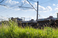 Freight train with cargo. Freight train transporting different cargo in containers and different transport Stock Image