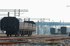 Freight train carriages on railway Royalty Free Stock Photography