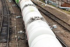 Freight train carrying fuel in wagons Stock Photo