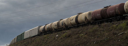 Freight train. Carrying a heavy load in the city Stock Photos
