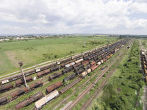 Freight train cars aerial Royalty Free Stock Image