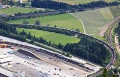 Freight train with cars, Villach-Fürnitz, Austria Stock Photography