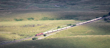 Freight train (cement) on Settle to Carlisle line Stock Photo