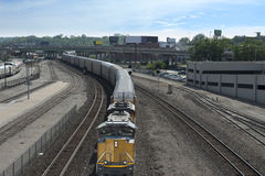 Freight Train in the city Royalty Free Stock Photos