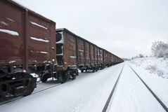 Freight train with coal (or gravel). Royalty Free Stock Images