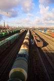 Freight train with color cargo Royalty Free Stock Image