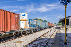 A freight train from Comboios de Portugal (Portuguese Trains) Stock Images