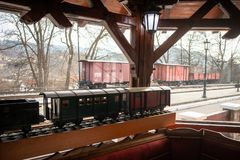 Freight train container and his model in the restaurant stock photos