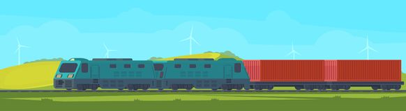 Freight train with container on railway car. Transportation by railroad. Nature landscape in a hilly area. Vector flat. Freight train with container on railway vector illustration