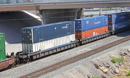 Freight train with containers. Passing under a bridge Royalty Free Stock Photos
