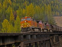 Freight Train Crossing Trestle royalty free stock image