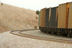 Freight train on curve Royalty Free Stock Image