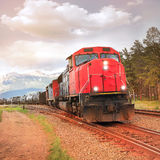 Freight train. Freight train departs from Jasper station. Alberta. Canada Royalty Free Stock Photos