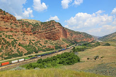 Freight train in Echo Canyon Royalty Free Stock Photo