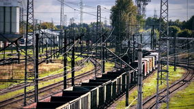 Freight train enters a curve stock video footage