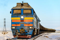 Freight train in the far north. Norilsk. Royalty Free Stock Images