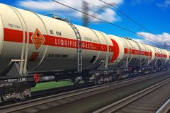 Freight train with gasoline tanker cars vector illustration