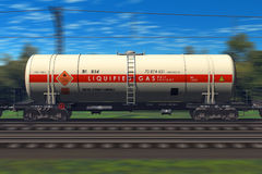 Freight train with gasoline tanker cars Royalty Free Stock Photography