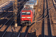 Freight train from german rail, deutsche bahn, drives through the freight yard Royalty Free Stock Image