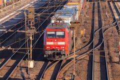 Freight train from german rail, deutsche bahn, drives through the freight yard Stock Photography