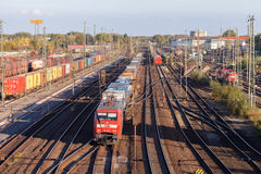 Freight train from german rail, deutsche bahn, drives through the freight yard. HANNOVER / GERMANY - OCTOBER 16, 2016: freight train from german rail, deutsche royalty free stock photos