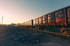Freight train goods wagons Stock Images