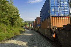 Freight Train Hauls Goods to Market. Knoxville, Tennessee, USA, August 23, 2006: A long freight train with many boxcars hauls goods of various types to the Stock Image