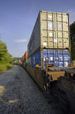 Freight Train Hauls Goods to Market. Knoxville, Tennessee, USA, August 23, 2006: A long freight train with many boxcars hauls goods of various types to the Stock Images