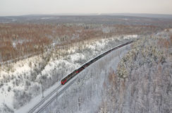 Freight train from the height of bird flight. Russia. Royalty Free Stock Images