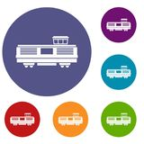 Freight train icons set. In flat circle reb, blue and green color for web Stock Photos