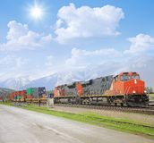 Freight Train In Canadian Rockies. Stock Images