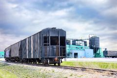 Freight train industrial plant Royalty Free Stock Image