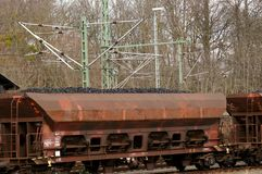 Freight train loaded with lignite. On railroad tracks stock images