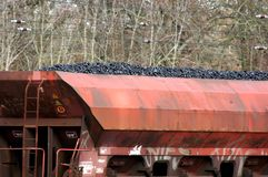 Freight train loaded with lignite. On railroad tracks royalty free stock images