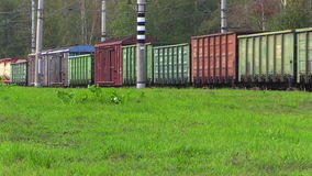 Freight train. Lyubertsy, Moscow region, Russia. 6 Sep 2014. Railroad cars of a freight train. Full HD video stock footage