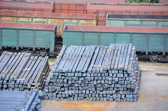 Freight train and metal Stock Image