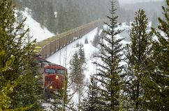 Freight Train in the Mountains during a Blizzard stock image