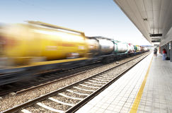 Freight train on railway station Royalty Free Stock Photo