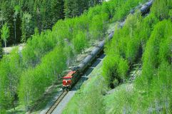 Freight train moves through Canadian Rockies. Freight train moves through Canadian Rockies to Vancouver stock photos