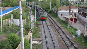 Freight train moving long way stock video footage