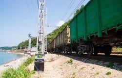 Freight train near sea Stock Photography