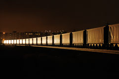 Freight train at night Royalty Free Stock Photography