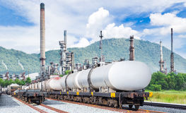 Freight train for oil and fuel transport on route to  refinery Royalty Free Stock Photos