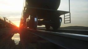 Freight train oil tankers. Against Sunrise. 3d rendering. Freight train oil tankers. Against Sunrise. 3d rendering stock illustration
