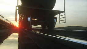 Freight train oil tankers. Against Sunrise. Realistic cinematic 4k animation. Freight train oil tankers. Against Sunrise. Realistic cinematic 4k animation stock footage